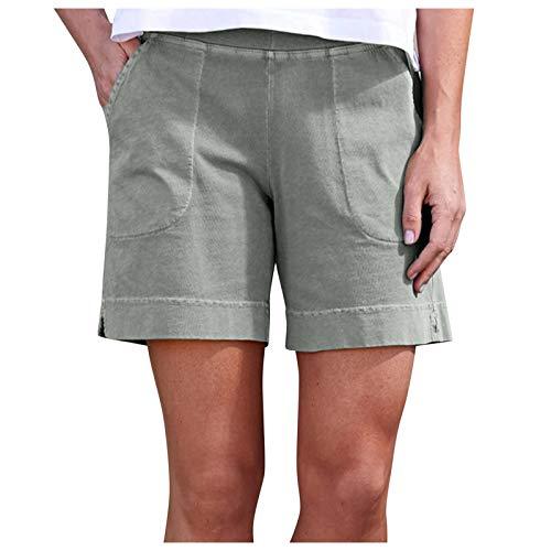 Mujeres de Moda Elástica Loose Shorts con Bolsillos Mujer Pantalones Cortos de Color Puro Side Split hasta la Rodilla Fold Shorts Pantalones Verano Mujer Casual Pantalones Verano Mujer Anchos