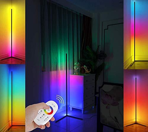 Lámpara de pie Color Cambio de color Nórdico Nórdico Lámpara de pie Dimmable LED Lámpara de pie con aplicación de control remoto Metal Lámparas de pie para sala de estar, habitación de cama