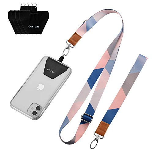 OUTXE Universal Phone Lanyard - 4× Durable Pads, 1× Adjustable Neck Strap, 1× Wrist Strap, Nylon Cell Phone Lanyard Compatible with iPhone, Samsung Galaxy and All Smartphones ( Blue Stripes )