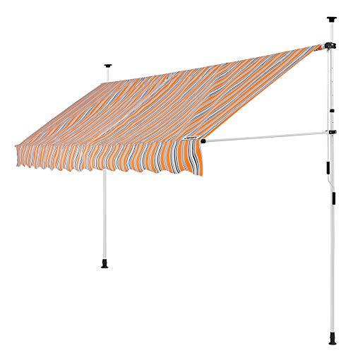 DeTeX Klemmmarkise 300 cm breit höhenverstellbar Orange Handkurbel UV-beständig wasserabweisend Balkonmarkise Markise