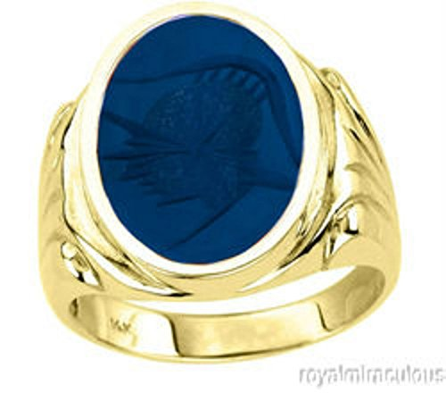 Para hombre Azul Cuarzo Intaglio Anillo 14K Amarillo Oro
