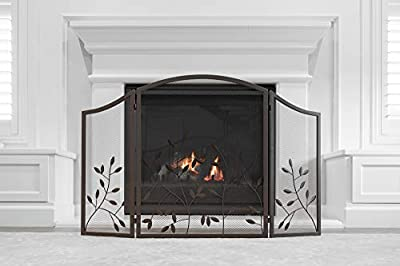 Barton Fireplace Screen 3-Panel Wrought Iron Large Screen Decorative Mesh Cover Solid Fire Place Fence Leaf Design Steel Spark Guard Fireplace Panels by Barton