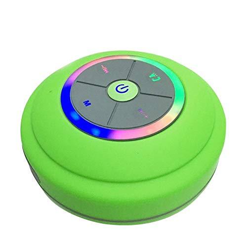 Waterdichte bluetooth-luidspreker met LED-lamp zuignap draadloze badkamer auto mobiele telefoon luidspreker ondersteuning handsfree bellen, groen