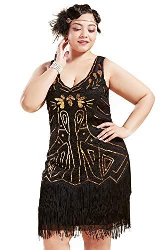 BABEYOND Sukienka damska w stylu lat 20., plus size, odświętny dekolt w kształcie litery V, podwójna warstwa, frędzle, Charleston, sukienka, duże rozmiary, damska sukienka koktajlowa, kostium karnawałowy