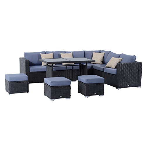 Outsunny 10PC Garden Rattan Corner Dining Sofa Set 9-seater Patio Tables...
