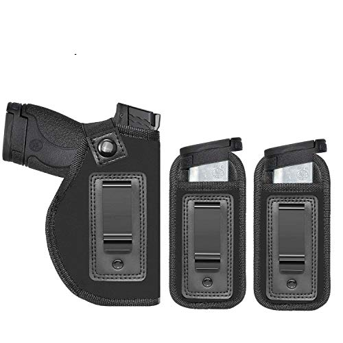 Anjilu Universal IWB Holster for Concealed Carry | Inside The Waistband | Fits All Firearms S&W M&P Shield 9/40 1911 Taurus PT111 G2 Sig Sauer Glock 19 17 27 43 (Right-Handed)
