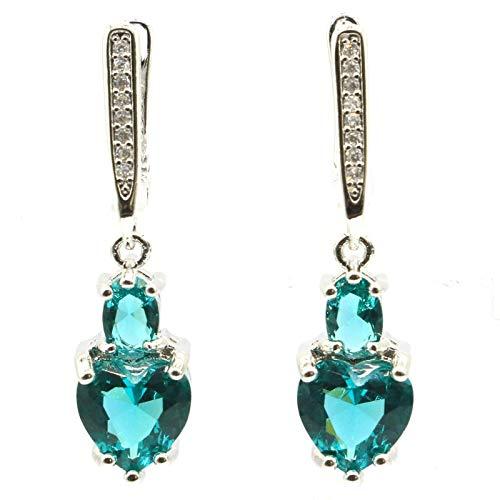 Earring 34x8mm Lovely Cute Heart Shape Created Blue Aquamarine Blood Ruby For Women Daily Wear Silver Earrings Drop Shipping
