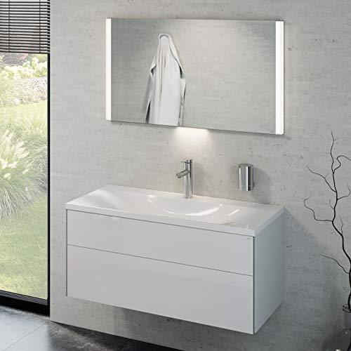 Keuco Badmöbelset mit Waschtisch, Waschbeckenunterschrank mit Frontauszug Hochglanz-weiß, LED Spiegel dimmbar, Badschrank mit Waschbecken, Badezimmermöbel Set, Breite 100cm Royal Reflex