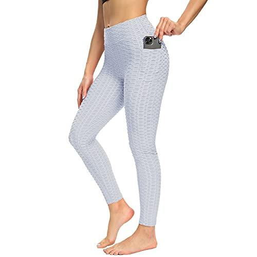 LANGBAO Leggings para mujer con bolsillos, Slim Fit, cintura alta, pantalones de yoga, elásticos, deportivos, sexys, con control de abdomen, pantalones largos Blanco S