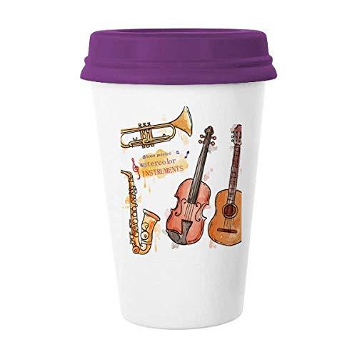 Música Guitarra Instrumentos Acuarela Patrón Taza de café Cerámica Taza de cerámica Taza de regalo