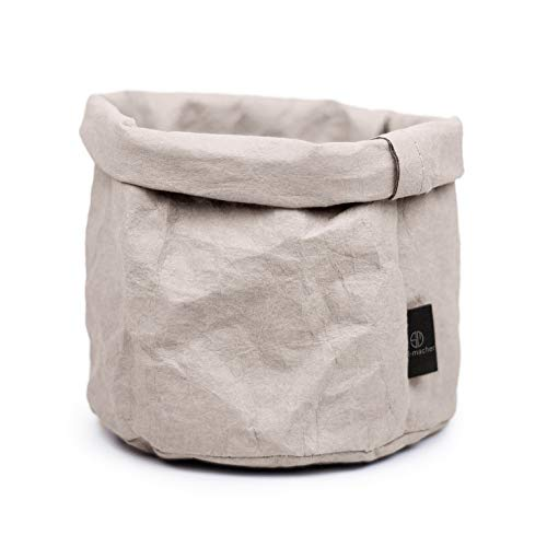stil-macher Designer Krempelkorb - Gr. M -   Aufbewahrungskorb aus waschbarem Papier   Lederoptik   VEGAN   Deko-Box   Geschenkbox   Übertopf (Grau, Rund)