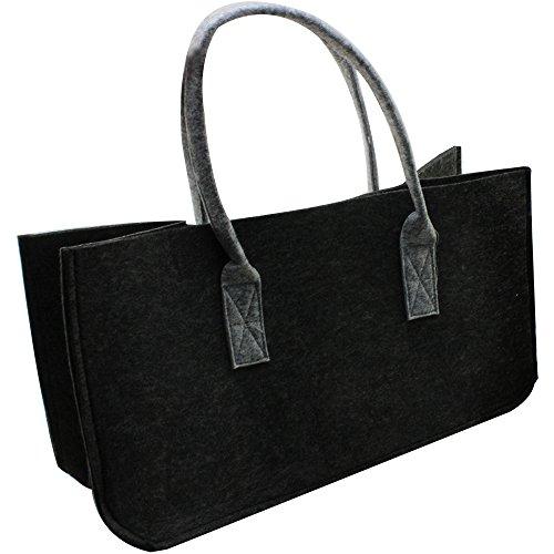 com-four® Filz-Tasche XL für den Einkauf, Zeitungsständer, Spielzeug oder Picknick am Strand, robust aus dickem Filz, perfekte Kaminholztasche für Brennholz 52 x 26 cm (01 Stück - Tasche dunkelgrau)
