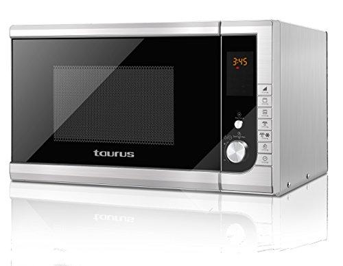 Taurus Style 23 Liter Mikrowelle digital, Edelstahl, Grill, schnelles Auftauen und Kochen, 900 W, 23 l, Leistungsregler, 9 Programme, Kindersicherung, Edelstahl