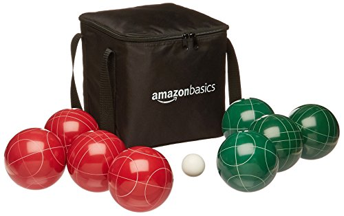 AmazonBasics 100 Millimeter Bocce Ball Outdoor Yard Games Set with Soft Carrying Case - 2 to 8 Players, Red and Green
