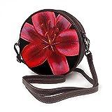 Crossbody Tasche für Damen, Schultertasche Seitentasche für Urlaub Reisen Sommer Mode Kreis Schultertaschen Schwarz und Rot Asiatische Lilie Blume