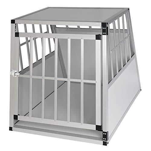 Elightry Trasportino per Cani Gatti in Auto Gabbia Box in Alluminio per Viaggio con Serratura di Sicurezza Bianco YDLGL0001ws