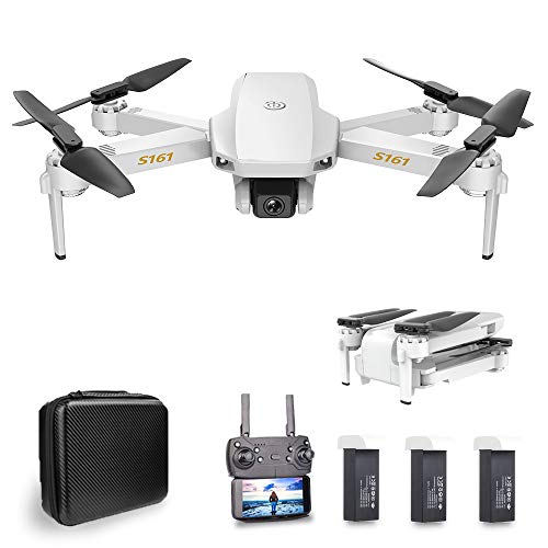 Goolsky CSJ S161 Mini Drone Pro con Cámara 4K Posicionamiento de Flujo óptico Cámara Dual Altitud Hold Gesto Fotos Video 3D FILP RC Quadcopter (Posicionamiento de Flujo óptico & 3 Batería)