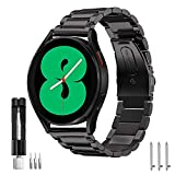 SPGUARD Galaxy Watch 4 Band 40mm/44mm Classic 42mm/46mm 20mm Metal Stainless Steel Bands Compatible with Samsung Galaxy Watch4 40mm/44mm Classic 42mm/46mm for Men Women(Black)