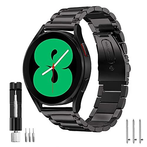HATALKIN Cinturino Galaxy Watch 4 40mm/44mm SmartWatch Acciaio Inox Cinturino 20mm Compatibile con Samsung Galaxy Watch 4 Classic 46mm/ 42mm, Samsung Galaxy Watch 4 40mm/44mm (Nero)