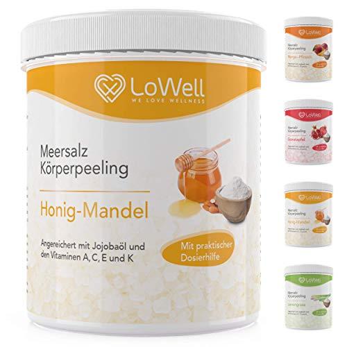LoWell® - Peeling Meersalz mit Jojobaöl + BONUS Dosierhilfe + Peeling-Guide – Natürliches Körperpeeling Scrub – Ideal für die Dusche, Dampfbad und Sauna - Body Salz - Honig-Mandel 500g