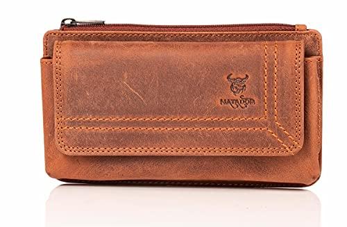 MATADOR Echt Leder Universal Handy-Tasche Holster Gürteltasche Magnetverschluss Quer für Handys bis 6,9 Zoll inkl. Geschenk-Box (Rost Braun)