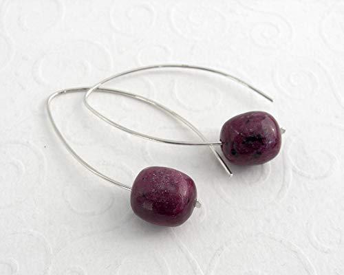 Moderne Blatt Ohrringe Rubin Zoisit, rot Edelstein Ohrringe 925 Sterling Silber, handmade,