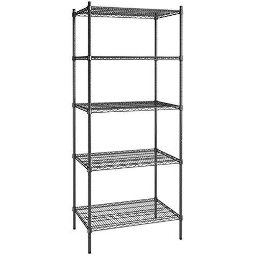 24 inch x 36 inch Certified Black Epoxy 5 Shelf Kit with 86 inch Posts. Storage Shelf. Garage Storage Shelves. Shelving Units and Storage. Food Storage Shelf. Storage Rack. Bakers Racks