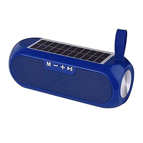 RYSF Haut-Parleur de Colonne Portable Boîte à Musique stéréo sans Fil Compatible Bluetooth Banque d'alimentation Solaire Boombox Étanche USB AUX Radio FM (Color : Blue)