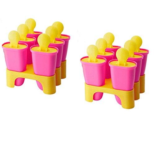 IKEA Ice Pop Popsicle Maker Formen Rosa und Gelb (12Stück) ohne BPA