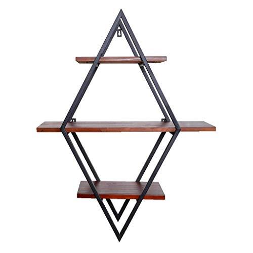 Estantes de exhibición Altillo de madera del hierro de la vendimia de la sala colgar de la pared Bastidores estadounidense estante de la pared del tubo de agua de la esquina del estante Organizador de