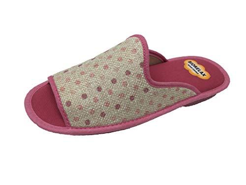 Zapatillas de Estar por casa/Mujer/Biorelax/Puntera Abierta/Empeine: Lona/Suela: Goma/Talón Acolchado/Talla 41