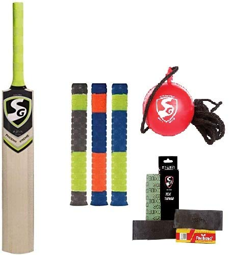 SG Cricket Kit IBall (Ball with Cord) Phoenix Xtreme' Kashmir Willow Cricket bat + 3 Cricket Bat Grip Toe Guard Pack Batcare Senior Players with Fast Fast Delivery