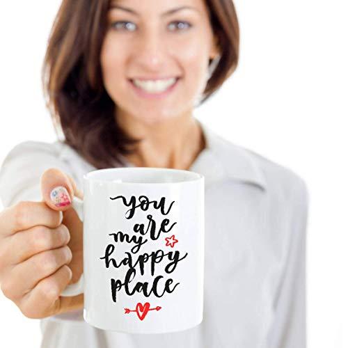 N\A Eres mi Lugar Feliz Regalo de San Valentín para Ella Taza de café de San Valentín Regalo para Novia Regalo para Esposa Mejor Regalo de San Valentín