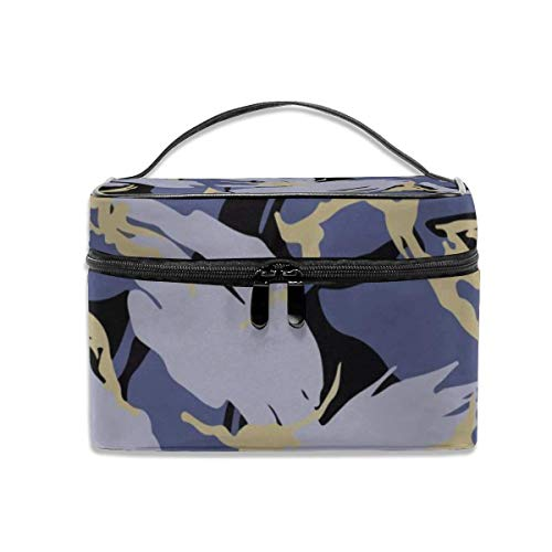 Vanity et Trousses à Maquillage Cosmetic Bags Blue Camo Portable Multifunction Case Makeup Organizer