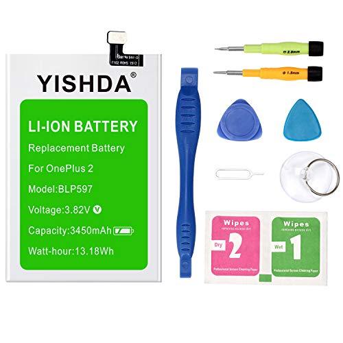 OnePlus Batería de repuesto YISHDA 3450 mAh BLP597 para Oneplus 2 con herramientas de instalación | One Plus Two Battery Kit [18 meses de garantía]