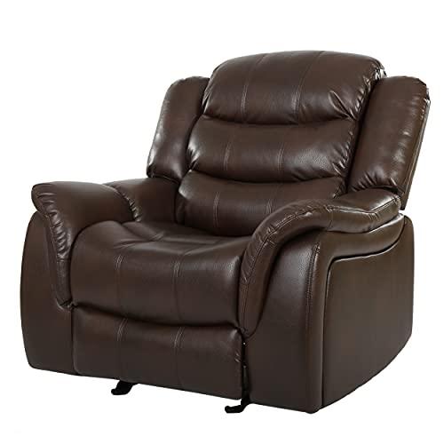 Merit Brown PU Leather Glider Recliner Club Chair