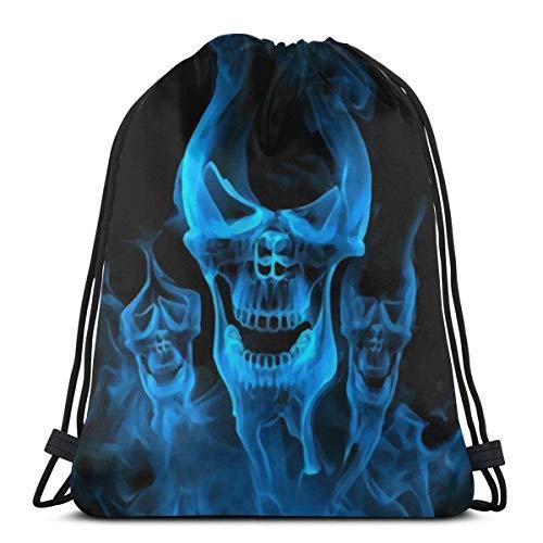 BXBX Drawstring Backpack Bag Sport Gym Sackpack Cinch Bag for School Yoga Gym Swimming Travel Unisex - Blue Burnning Flame Skeleton Skull Head