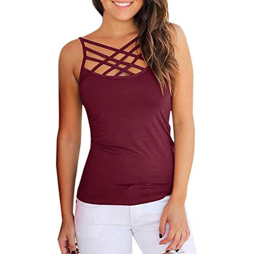 TIFIY Tops Damen, Achselshirt Classic Crop Hemd Criss Cross Crop Top Frauen Sommer ärmellose Bluse Oberteil(Wein,EU-40/CN-XL)