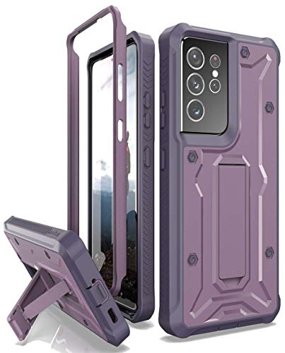 ArmadilloTek Vanguard Compatible with Samsung Galaxy S21 Ultra Case, Military Grade Full-Body Rugged with Built-in Kickstand [Screenless Version] - Purple