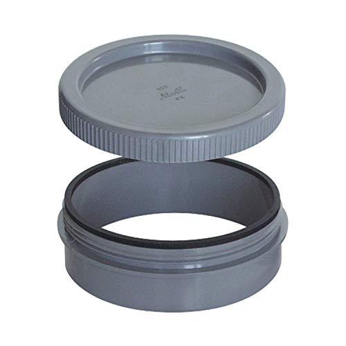 Riuvert Tapon registro PVC Roscado 90 mm, Gris, Estándar