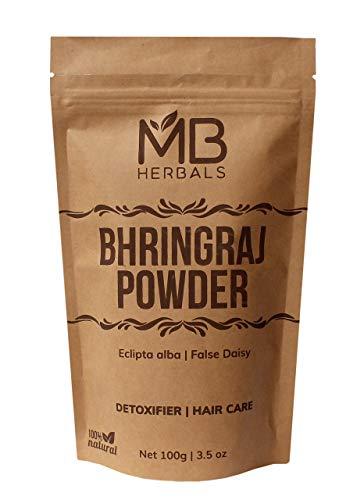 MB Herbals Pure Bhringraj Powder 100 Grams | Pure Bhringaraj Eclipta Alba Powder Promotes Healthy Hair Growth