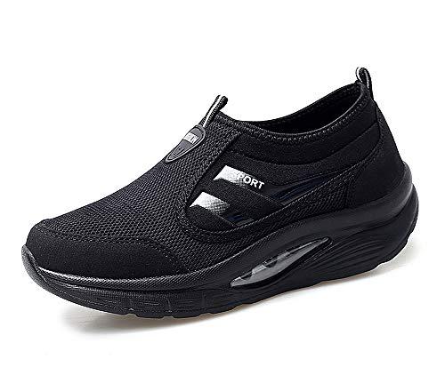 lovejin Mujer Zapatillas Deportivas de Correr Plataforma Cuña Zapatos Moda Fitness Adelgazar Planos Sneakers