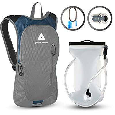 JTRYBE Hydration Pack for Running, Biking with Hydration Bladder 2L. Awesome Water Backpack for Hiking. Bonus Bite Valve and Brush. Great Running Hydration Backpack for Women Men. Kids Water Backpack
