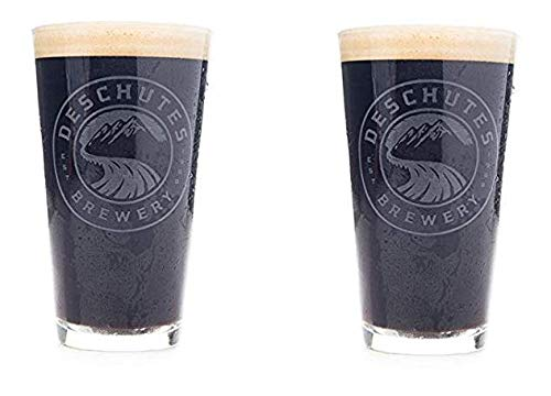 Deschutes Brewery White Satin Logo Pint Glasses - Set of 2