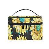 Schminktasche Vintage Sunflowers Kosmetiktasche Tragbare große Kulturtasche für Frauen/Mädchen...
