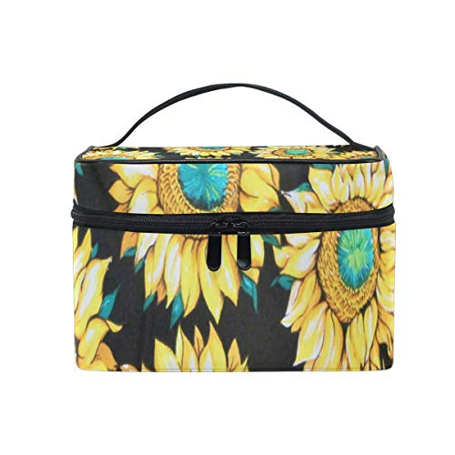 Trousse de maquillage Vintage Sunflowers Cosmetic Bag Portable Large Toiletry Bag for Women/Girls Travel