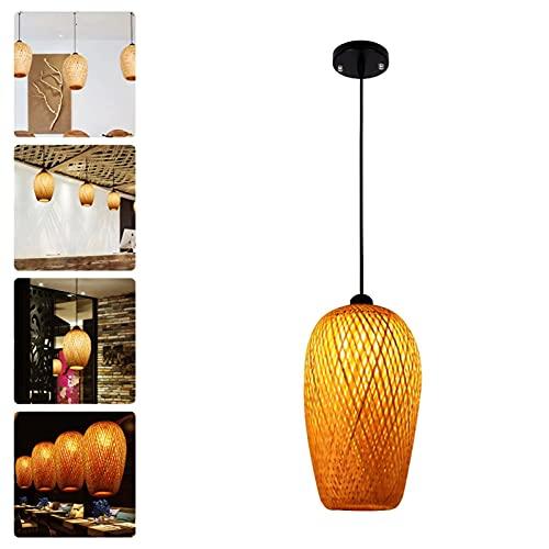 HSJ Plafoniera LED Soffitto Moderna Bagno Camera da Letto, Lampada da Soffitto a Lanterna Antica in Tessuto di bambù, per Soggiorno Camera da Letto Ristorante Club