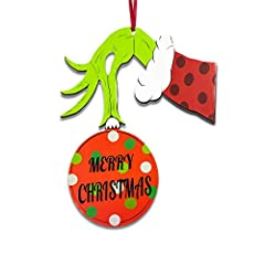 CHRISTMAS DOOR DECORATIONS: Grinch door hanger on the outside of the door to welcome guests to the Christmas party. Grinch door decorations Christmas with the classic and unique Grinch figure action, cute and playful design, bring great hit to your C...