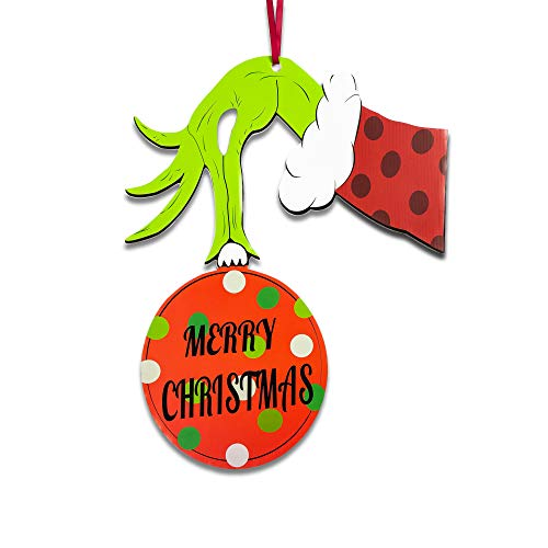 Happy Storm Christmas Door Decorations Grinch Door Hanger Waterproof Hanging Sign Front Door Wall Outdoor Indoor Decor Hanger Sign for Grinch Xmas Holiday Party Supplies Favors