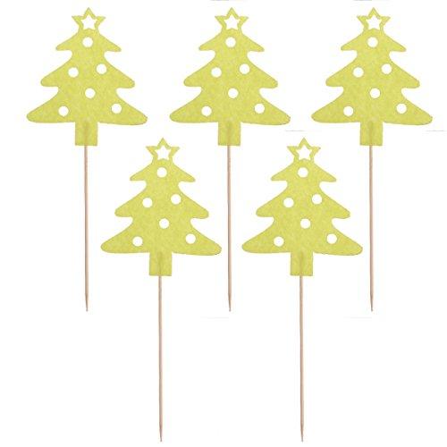 Tinksky Le decorazioni dei toppers delle decorazioni del bigné della torta dell'albero di Natale 10pcs spuntano per la decorazione della torta del partito di Natale